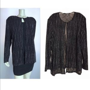 DRESSBARN - BLACK GLITTER LONG SLEEVE CARDIGAN
